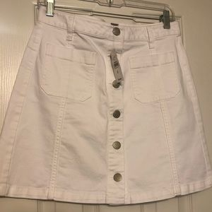 White denim skirt from Loft, brand new with tag!